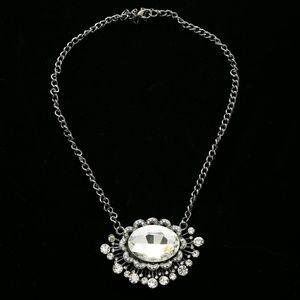 Luxury Crystal Necklace Gunmetal NWOT